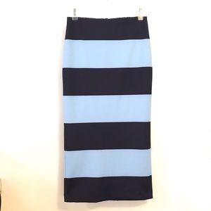 Zara Skirt Midi Striped XS Blue Stretch Bodycon